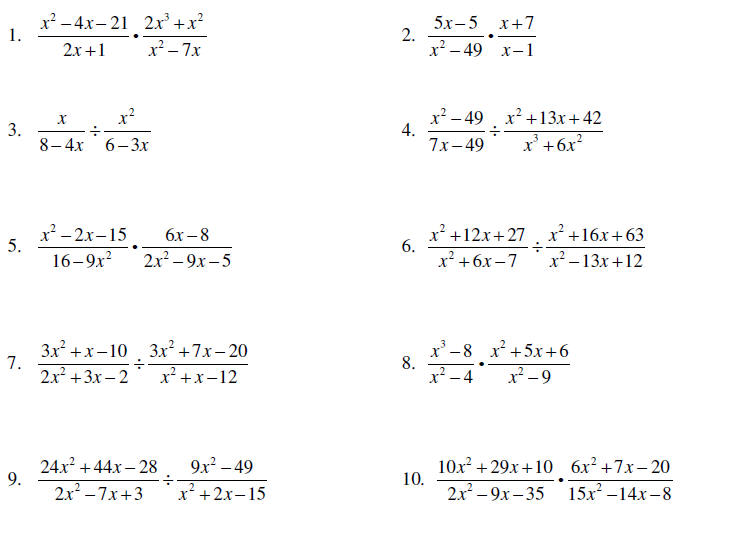 Printables Rational Expressions Worksheet multiplying and dividing rational expressions